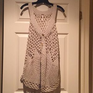 NWOT Free People Crochet-Knit Vest w/gold buttons.